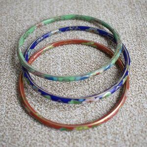 Jewelry - Vintage Cloisonne Trio Bangles